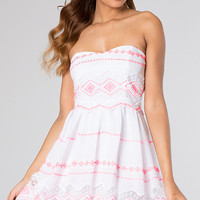 Short Strapless Sweetheart Print Dress