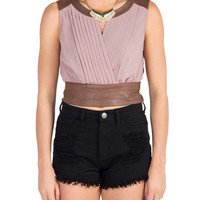 Suede Detail V-cut Crop Tank - Blush