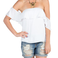 Open Shoulder Ruffled Top