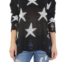 Black Distressed Star Sweater