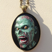 Mint and Black Polymer Clay Zombie Cameo Pendant Necklace