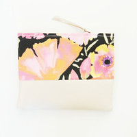 FEMME 2 / Floral cotton & Leather make up pouch - Ready to Ship