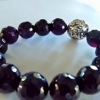 Dark Purple 14mm Faceted Agate Gemstone with 18mm Silver Bali center piece, Stretch Bracelet, Mala Inspired.