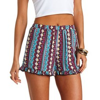 RUFFLE TRIBAL PRINT HIGH-WAISTED SHORTS