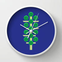 Vegetable: Brussels Sprout Blue Wall Clock by Christopher Dina | Society6