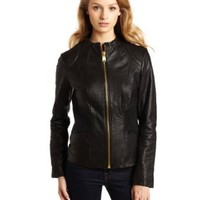 Via Spiga Women's Luxury Ruched Waist Leather Scuba Jacket