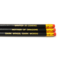 Game of Thrones pack of 3 black stamped pencils. (Set 2)
