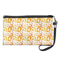Coral and White Aztec Print Wristlet