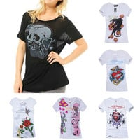 $56 Sinful Skull Short Sleeve T-shirt Biker Tee Top Womens S M L XL 100% Cotton