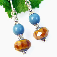 Amber Glass Turquoise Pearl Clip On Earrings Short Nonpierced Dangles