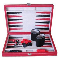 "Brandon 12"" Vinyl Backgammon in Black and Red"
