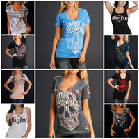 100% Cotton Sinful V-neck Skull Cross Short Sleeve T-shirt Biker Top Womens