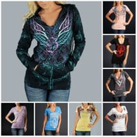 $78 Sinful Angel Wings Sword Rose Zip Up Rib Inset Hoodie Sweatshirt Womens S-XL
