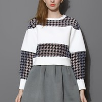 Contrast Houndstooth Mesh Panel Sweat Top