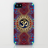 Golden Om series : Blue Red Batik Fractals iPhone & iPod Case by Webgrrl | Society6