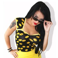 Daisy Dee Pinup Top by Demi Loon (Black/Yellow)