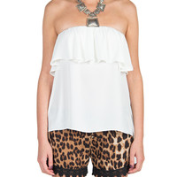 Ruffle Strapless Top - Cream