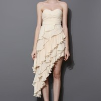 Beige Asymmetric Tiered Ruffle Bustier Dress