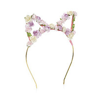 Pink Floral Cat Ear Alice Band