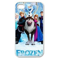 Protective Hard Shell Cases Stylish Design Print Cover for Apple iPhone 4 4g 4s Hard Case Cover-Frozen Movie Anna Snow Queen Kristoff Olaf Prince Hans-2
