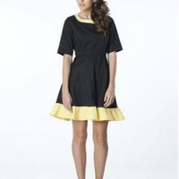 Black Elegant Dress with Yellow Color Block Detailing and Qu