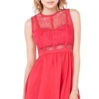 Lace Bust Cut Out Dress in Sugar Coral