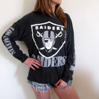 Vintage Los Angeles Raiders Shirt Tee Long Sleeve Football Oakland California Sports Sportswear Womens Mens Unisex Distressed