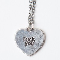 F* YOU HEART SILVER NECKLACE