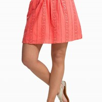 SEQUIN EYELET BELTED SKIRT