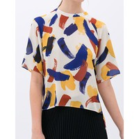 Colorful Print Side Slit Back Round Collar Short Sleeve Trendy Style Women's Blouse