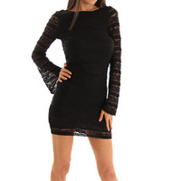 Black Romantic Lace Open Back Bell Sleeves Evening Dress