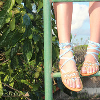 Choose Your Color Leather Wrap Sandals