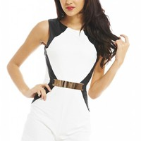 Cream Faux Leather Band Romper