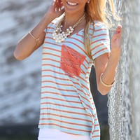 Lace Pocket Stripe Top Coral/Light Blue