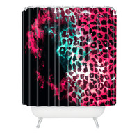 Caleb Troy Leopard Storm Pink Shower Curtain