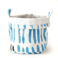Maika — Vertical Strokes Recycled Canvas Bucket (Sky)