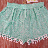 Pom Pom Shorts - Mint Mini Leaf Print - Gym/Beach Shorts