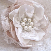 Champagne Ivory Satin Organza and Lace Wedding Flower Hair Clip Bride Mother of the Bride Bridesmaids Prom with Pearl and Rhinestone Accent