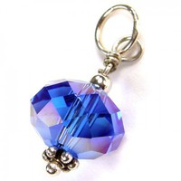 Faceted Blue Crystal AB Pendant With Sterling Silver | Covergirlbeads - Jewelry on ArtFire