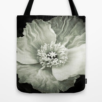 Black & White Poppy Tote Bag by DuckyB (Brandi)