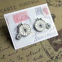 Hand Drawn Penny Farthing Earrings