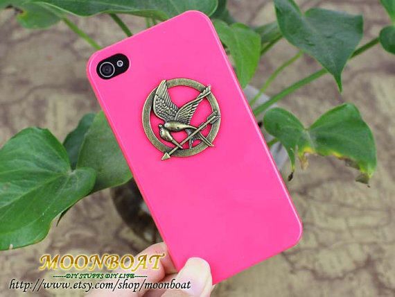 The Hunger Games Logo Brass Mockingjay Pendant  IPhone by moonboat