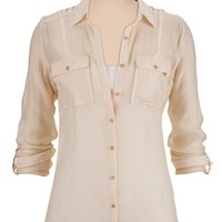 Lightweight button front shirt with crochet trim