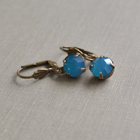 Caribbean Blue Opal Rhinestone Earrings, Antique Brass Lever Back, Swarovski Caribbean Blue Opal Beach Earrings