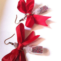Fun Red bows with confetti filled glass bottle earrings