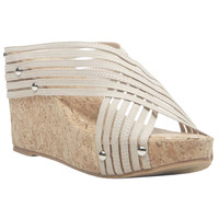 Mesh Cross Strap Cork Wedge Sandals | Wet Seal