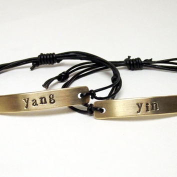 Yin Yang couples best friends or layering hand stamped metal sliding knot bracelet set.