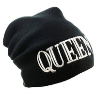 "Okstar New Beanie ""Queen"" White Bold Letter Celebrity Inspired Fashion One Size Unisex Beanie-black Color"