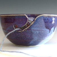 Purple Yarn Bowl, handmade stoneware pottery,handmade ceramic yarn bowl, READY TO SHIP