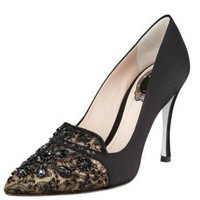 Rene Caovilla Bead-Embellished Satin Lace Pump